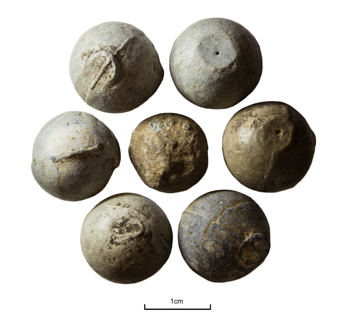Lead musket balls recovered from a post-medeival battlefield site